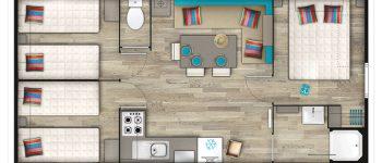 plan mobil home 35 m²